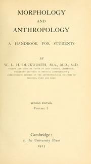 Cover of: Morphology and anthropology by W. L. H. Duckworth
