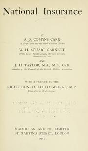 Cover of: National insurance | Carr, A. S. Comyns