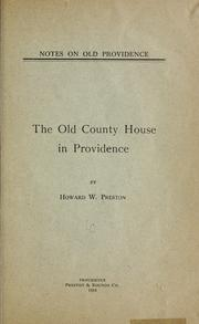 Cover of: Notes on old Providence by Howard W. Preston