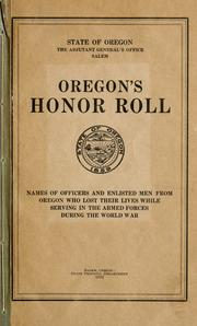 Cover of: Oregon's honor roll by Oregon. Adjutant-General's Office.