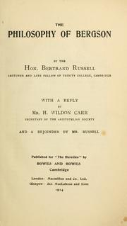 Cover of: The philosophy of Bergson by Bertrand Russell