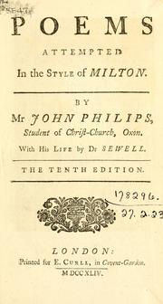 Cover of: Poems attempted in the style of Milton | John Philips