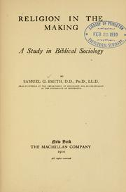 Cover of: Religion in the making | Smith, Samuel George