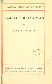 Cover of: Samuel Richardson by Dobson, Austin