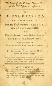 Cover of: The state of the printed Hebrew text of the Old Testament considered by Benjamin Kennicott