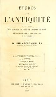 Cover of: Études sur l'antiquité by Philarète Chasles