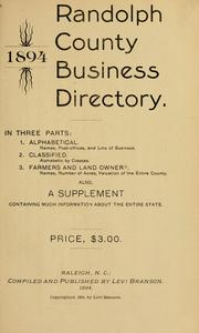 Cover of: Randolph County business directory, 1894 by L. Branson