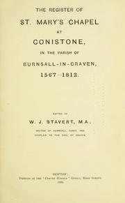 The register of St. Mary's Chapel at Conistone, in the parish of Burnsall-in-Craven 1567-1812