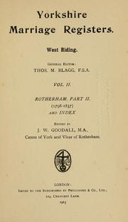 Cover of: Yorkshire marriage registers. West Riding by Thomas Matthews Blagg