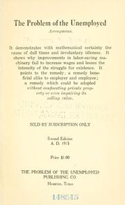 Cover of: The problem of the unemployed by Henry Franklin Ring