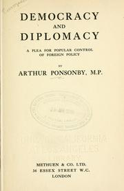 Cover of: Democracy and diplomacy | Ponsonby, Arthur Ponsonby Baron
