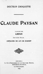 Cover of: Claude Paysan | Ernest Choquette