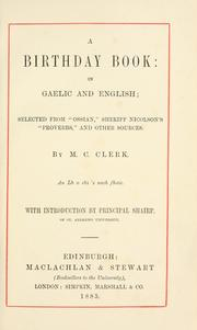 Cover of: A birthday book | M. C. Clerk