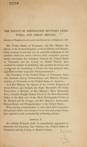 Cover of: The treaty of arbitration between Venezuela and Great Britain, signed at Washington and dated the second day of February, 1897 | Venezuela.