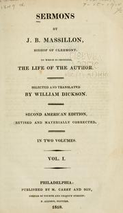 Cover of: Sermons by J.B. Massillon, bishop of Clermont | Jean-Baptiste Massillon