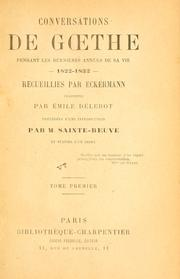 Cover of: Conversations de Goethe by Johann Wolfgang von Goethe