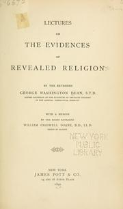 Cover of: Lectures on the evidences of revealed religion | George Washington Dean