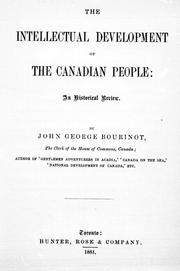 Cover of: The intellectual development of the Canadian people | Bourinot, John George Sir