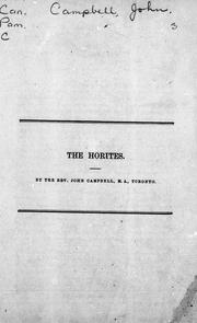 Cover of: The Horites by Campbell, John