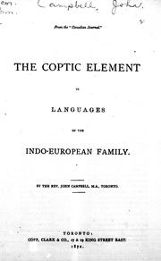 Cover of: The Coptic element in languages of the Indo-European family by Campbell, John