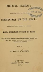 Cover of: Biblical review by W. E. Manley