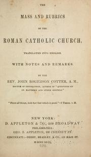 The mass and rubrics of the Roman Catholic Church