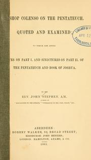 Cover of: Bishop Colenso on the Pentateuch | J. Stephen