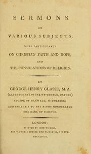 Cover of: Sermons on various subjects | George Henry Glasse