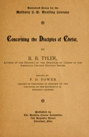 Cover of: Concerning the Disciples of Christ | Benjamin Bushrod Tyler