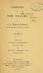 Cover of: Commentary on the Psalms by Ernst Wilhelm Hengstenberg