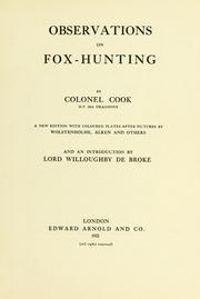 Cover of: Observations on fox-hunting by Cook, John