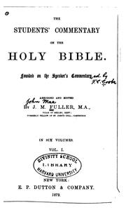 The Students' Commentary on the Holy Bible: Founded on the Speaker's Commentary