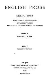 English Prose: Selections