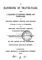 Cover of: A handbook of travel-talk by handbook of travel -talk