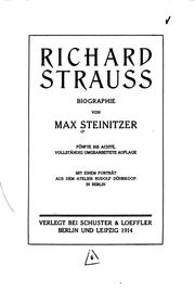 Cover of: Richard Strauss: Biographie by Max Steinitzer