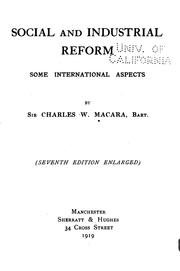 Cover of: Social and Industrial Reform: Some International Aspects by Charles Wright Macara