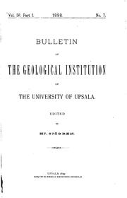 Cover of: Bulletin of the Geological Institution of the University of Uppsala by Uppsala universitet Mineralogisk-geologiska institutionen