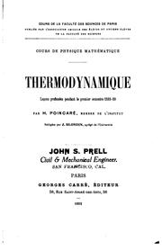 Cover of: Thermodynamique: Leçons professées pendant le premier semestre 1888-89 by Henri Poincaré