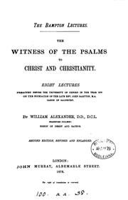 Cover of: The witness of the Psalms to Christ and Christianity, eight lectures | William Alexander
