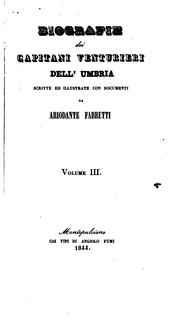 Cover of: Biografie dei capitani venturieri dell Úmbria: scritte ed illustrate con documenti by Ariodante Fabretti