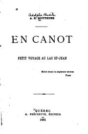 Cover of: En canot: petit voyage au lac St-Jean by Routhier, A. B. Sir