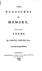 Cover of: The Pleasures of Memory: With Other Poems by Samuel Rogers