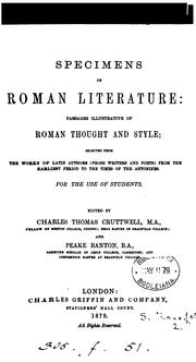 Cover of: Specimens of roman literature by Charles Thomas Cruttwell M.A