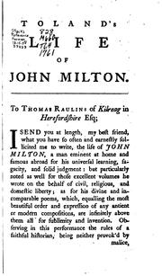 Cover of: The Life of John Milton by John Toland