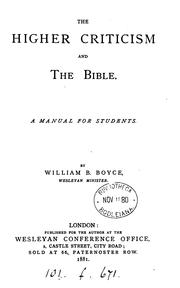 Cover of: The higher criticism and the Bible by William Binnington Boyce