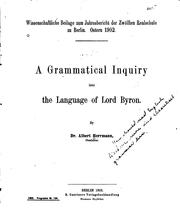 Cover of: A Grammatical Inquiry Into the Language of Lord Byron by Albert Herrmann