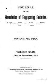 Cover of: Journal of the Association of Engineering Societies by Association of Engineering Societies (U .S.)
