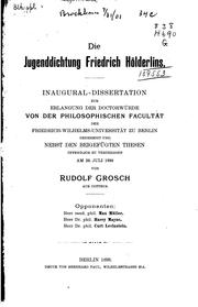 Cover of: Die Jugenddichtung Friedrich Scelderling by Rudolf Grosch