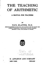 Cover of: The Teaching of Arithmetic: A Manual for Teachers by Paul Klapper