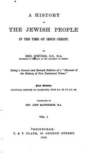 Cover of: A History of the Jewish People in the Time of Jesus Christ by Emil Schürer